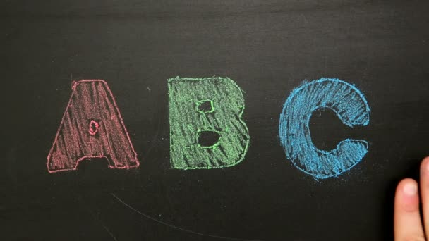 hand rubbing off abc drawn on chalkboard in red green and blue chalk