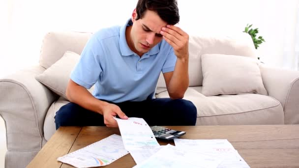 Man stressed with so many bills to pay — Stock Video ...