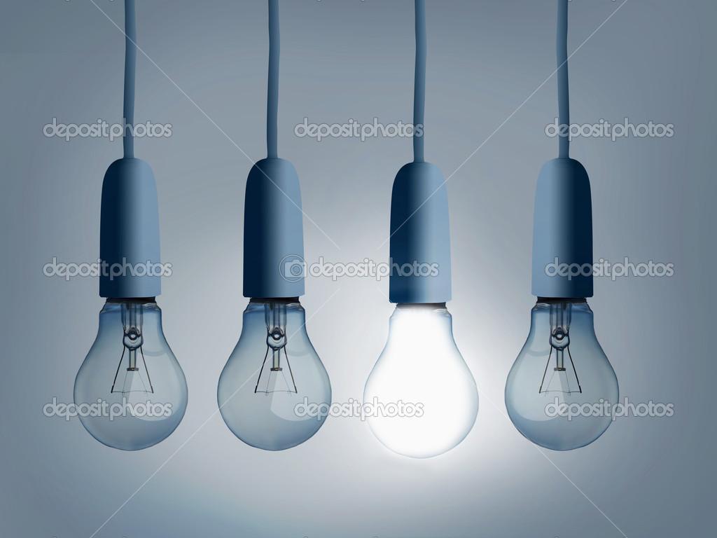 Four light bulbs hanging stock photo wavebreakmedia 25717815 four light bulbs hanging stock photo aloadofball Choice Image