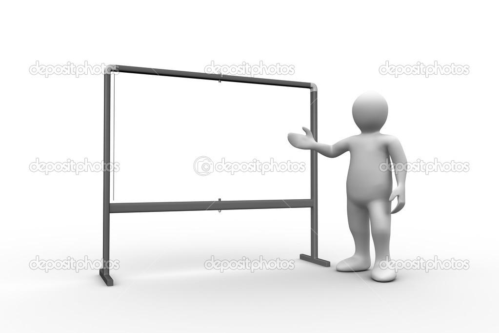 white figure pointing to whiteboard stock photo wavebreakmedia