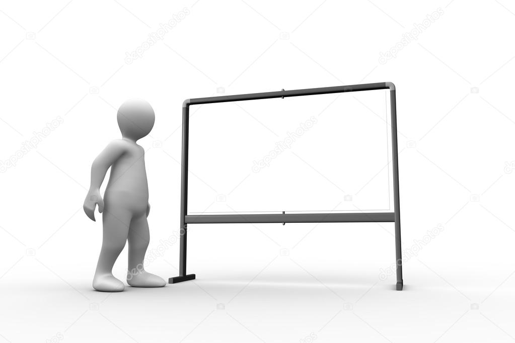 standing white figure pointing to whiteboard stock photo