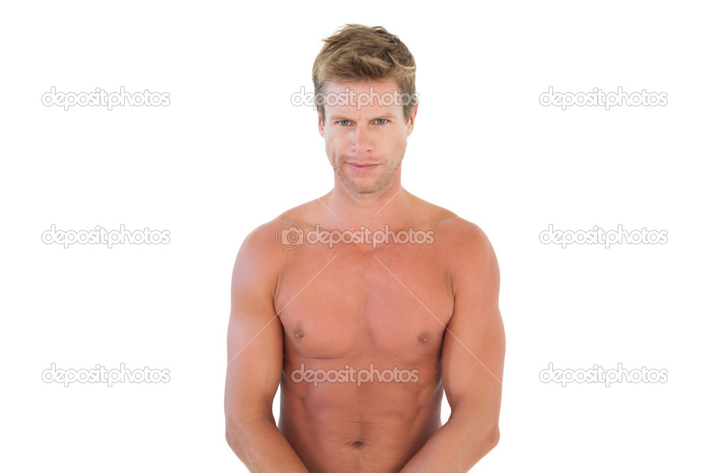 schöner nackter Oberkörper Mann beugen Muskeln — Stockfoto ...
