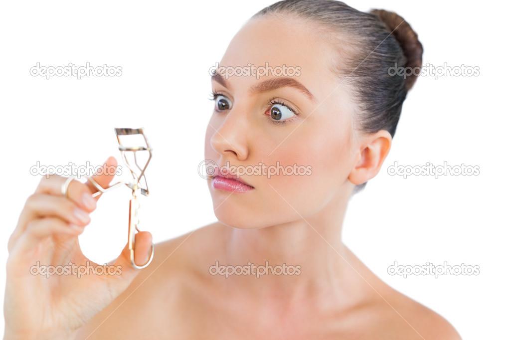 Model With Eyelashes Curler Stock Photo Wavebreakmedia 29458621