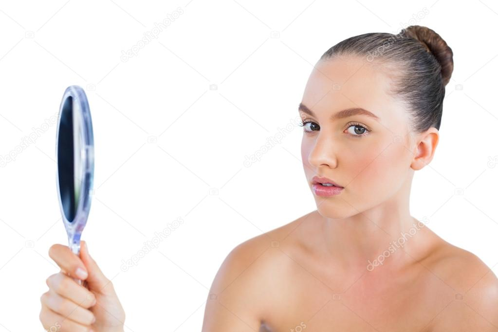 woman holding hand mirror. Young Woman Holding Mirror \u2014 Stock Photo Hand U