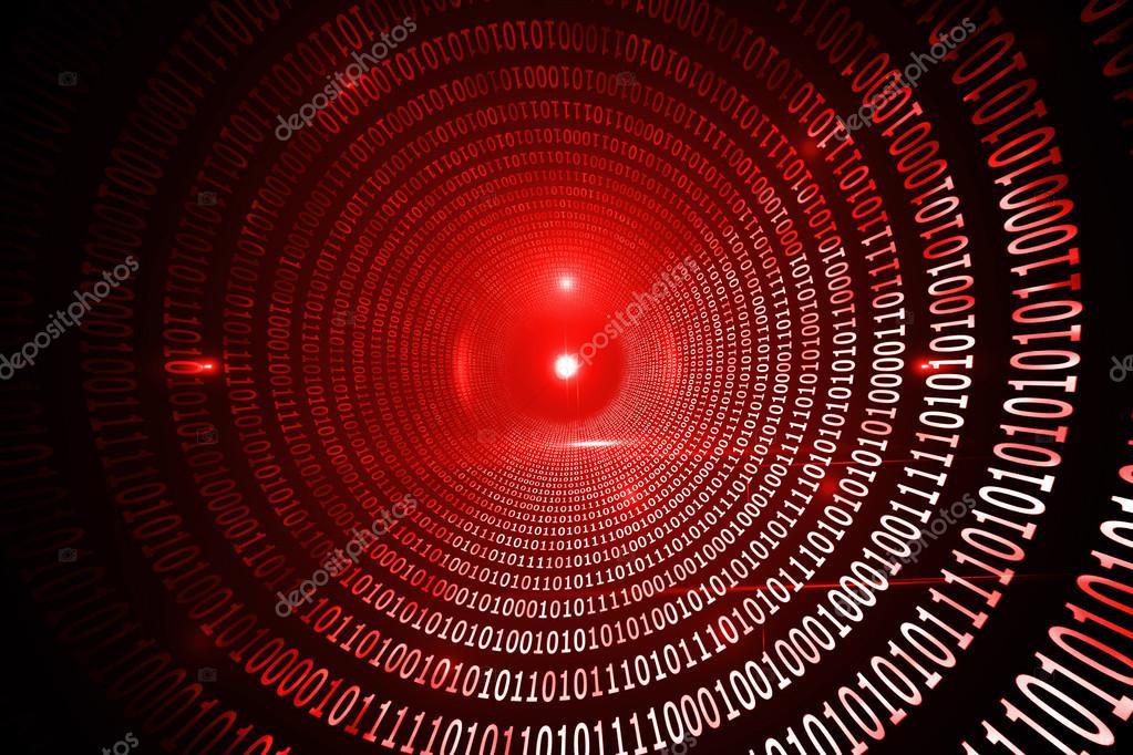 Shiny red binary code on black background — Stock Photo ...