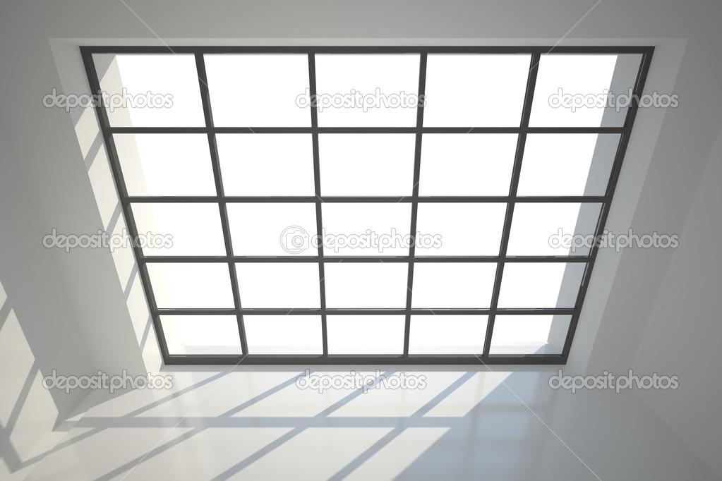 sala blanca con muchas ventanas y marco negro — Foto de stock ...