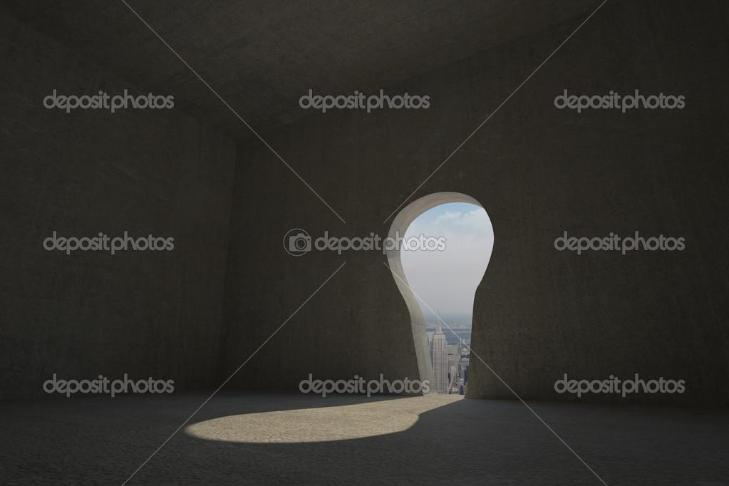 ojo de la cerradura de la puerta en el cuarto oscuro — Fotos de ...