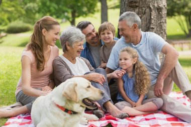 Extended family with their pet dog sitting at park