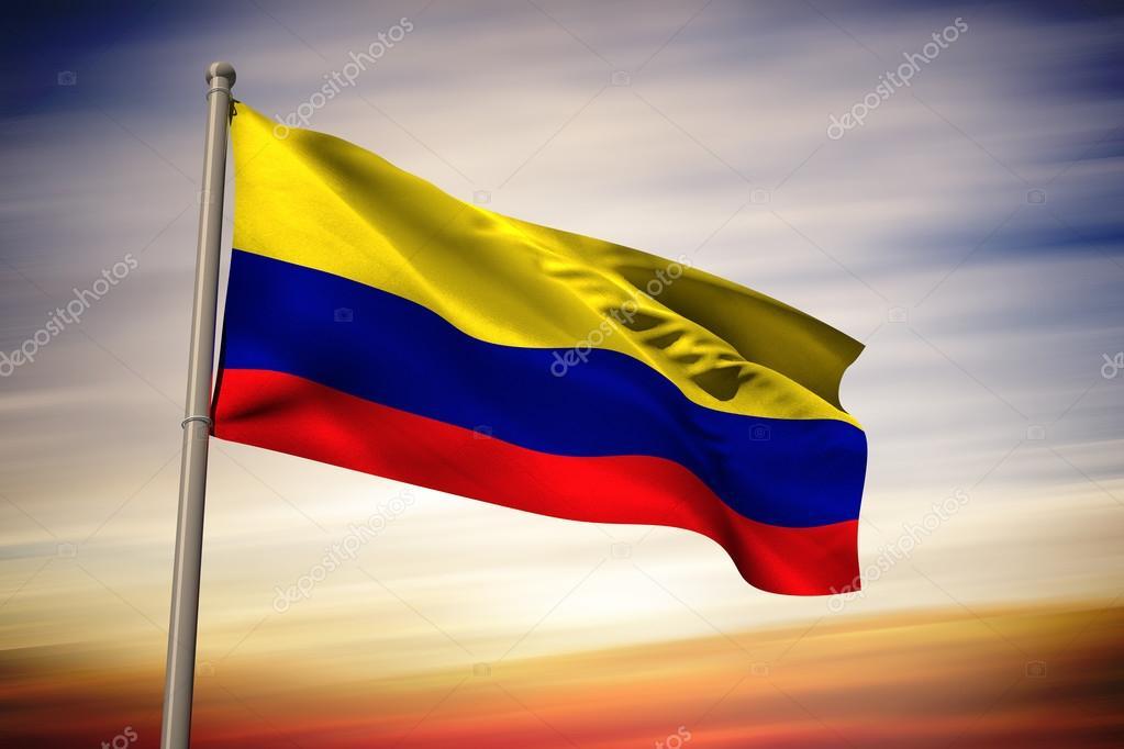 Bandera De Colombia Ondeando Para Colorear Imagen