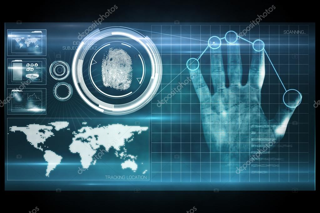 Digital Security Hand Print Scan Stock Photo