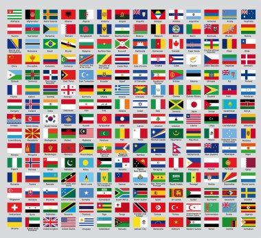 An update of the flags of the countries of the new world stock vector