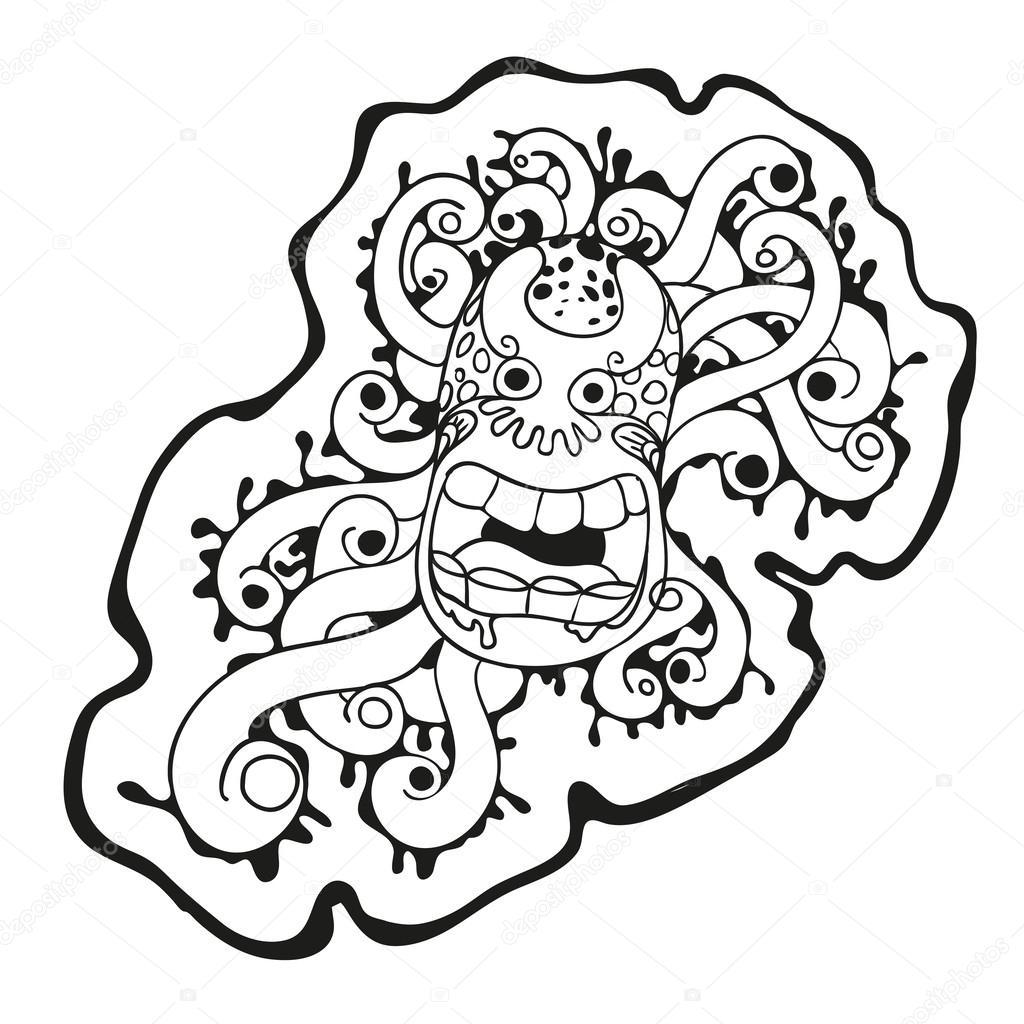 Dessin Anim Noir Et Blanc: Monstre De Dessin Animé Mignon Virus Noir Et Blanc