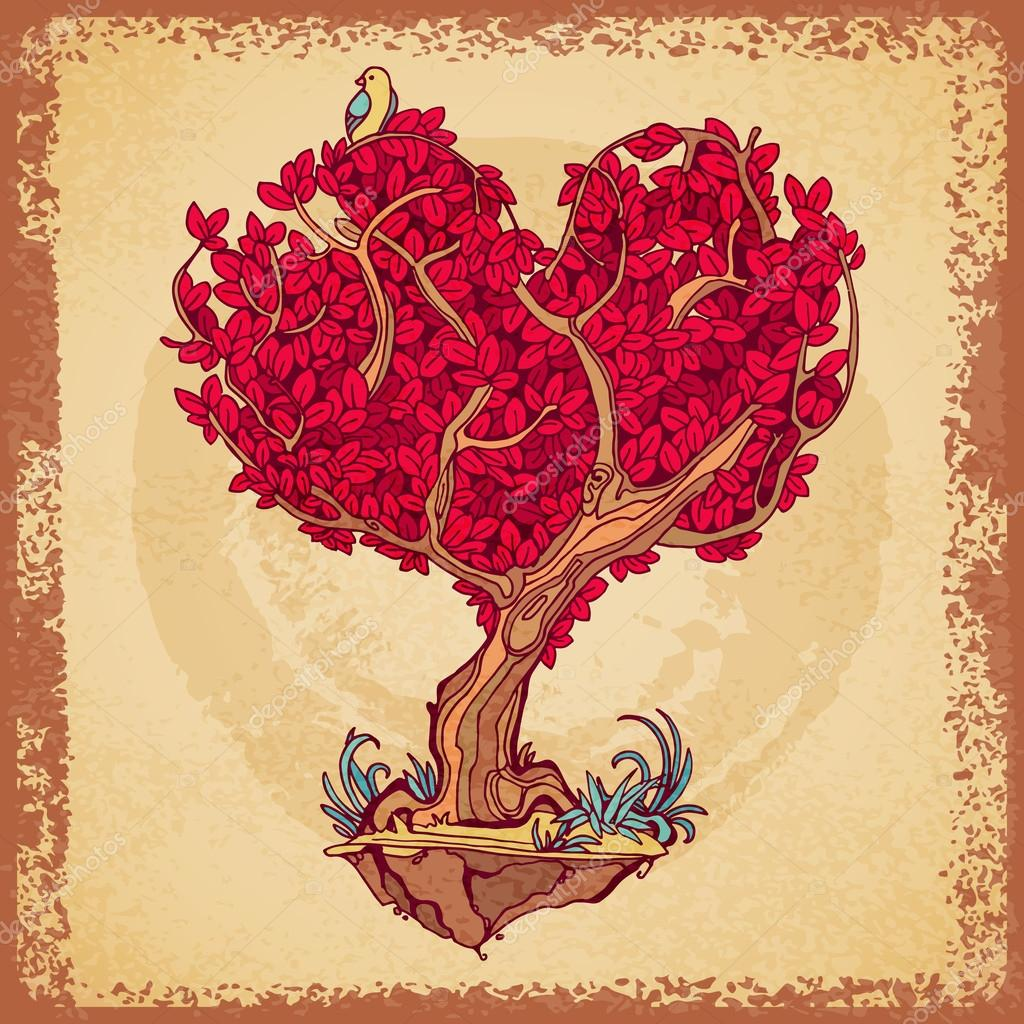 Stylized tree retro tattoo crown in the shape of heart