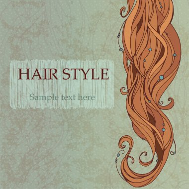Brunette hair vintage style poster clip art vector