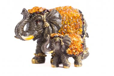 two elephants with amber for happiness