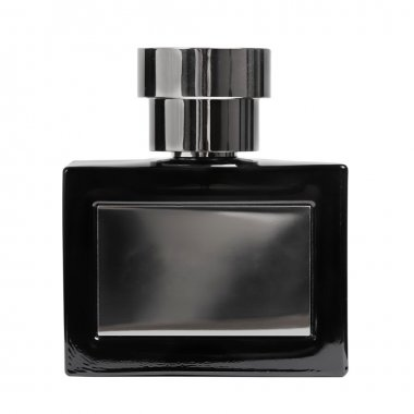 Black perfume bottle isolated on white