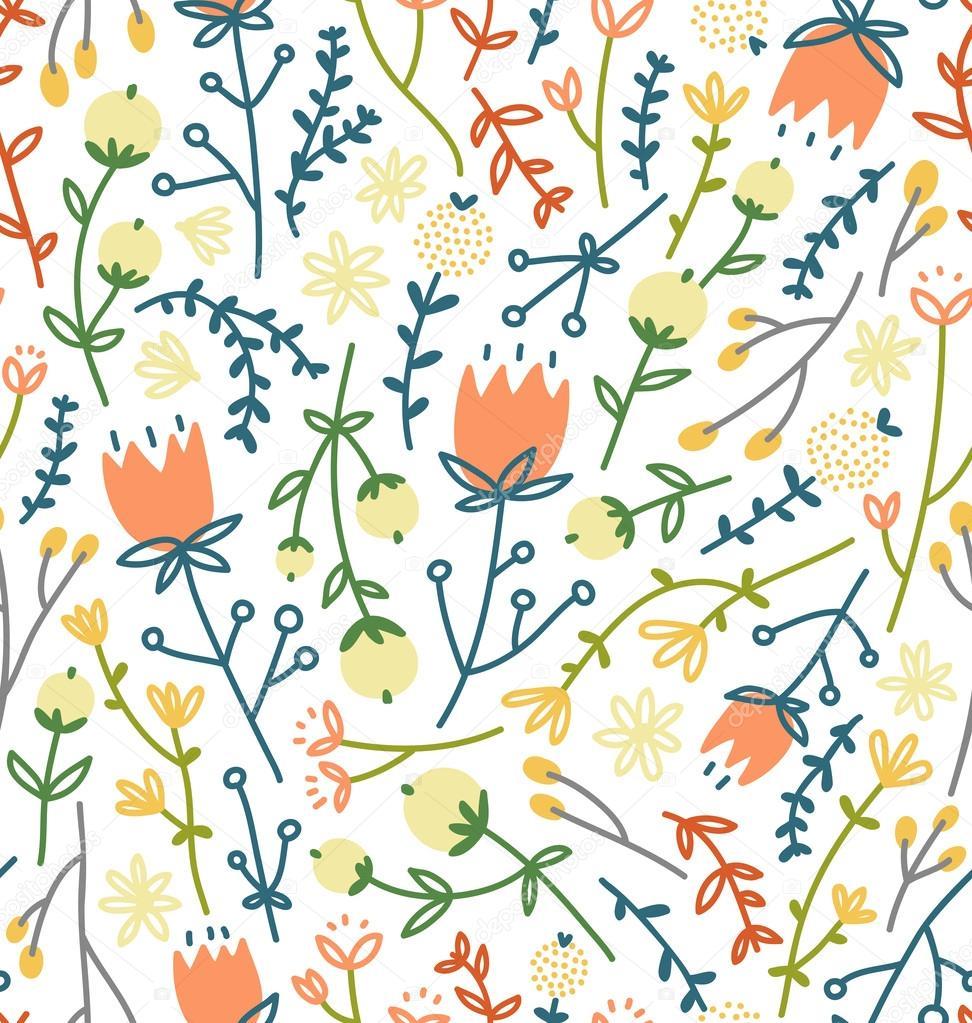 Champ Fleurs Doodle Motif 3 Image Vectorielle Stolenpencil C 37905869