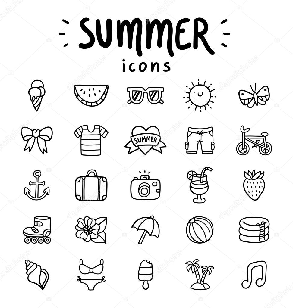Summer icons outlined