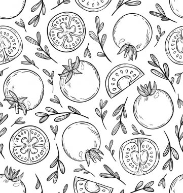 Sketched tomatoes pattern