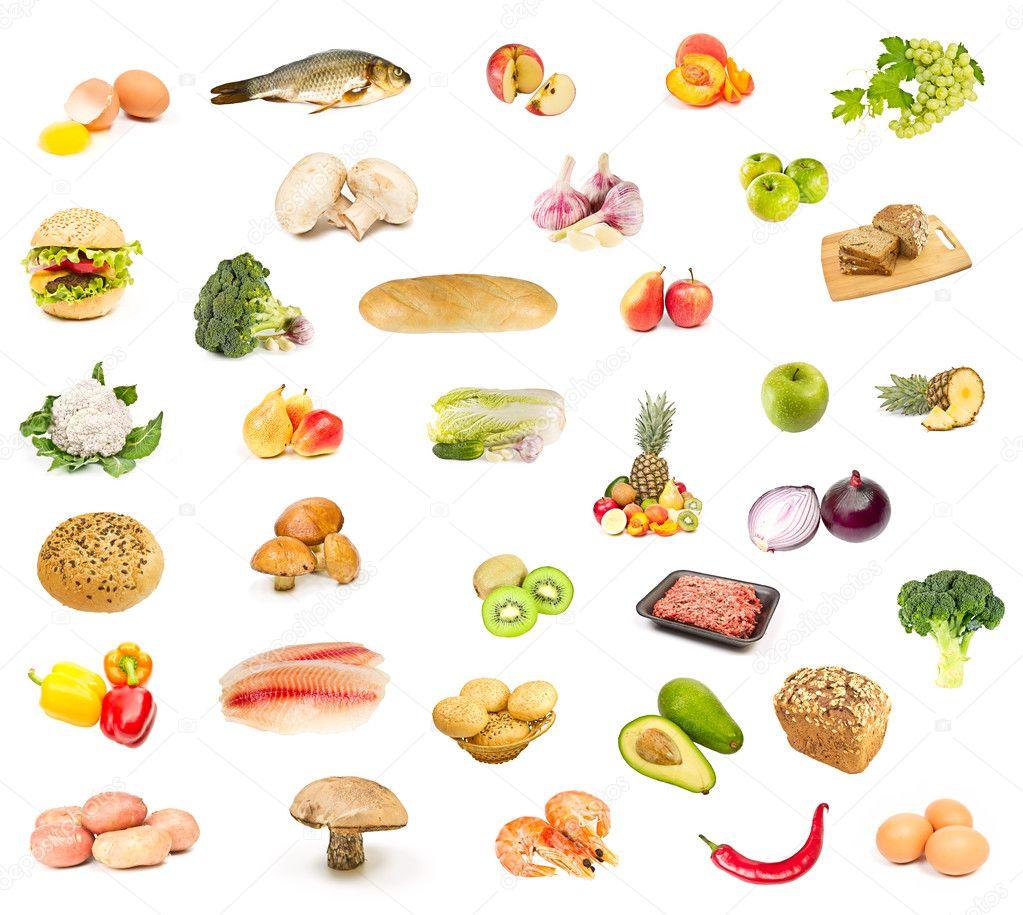 Set of food, fruit and vegetables