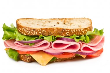 sandwich with ham, cheese and tomato