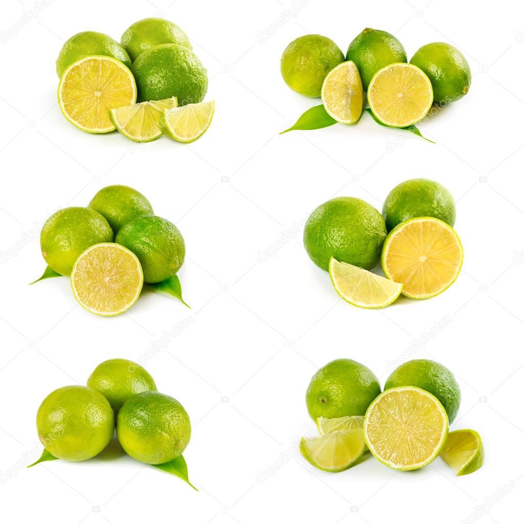 Set of fresh limes
