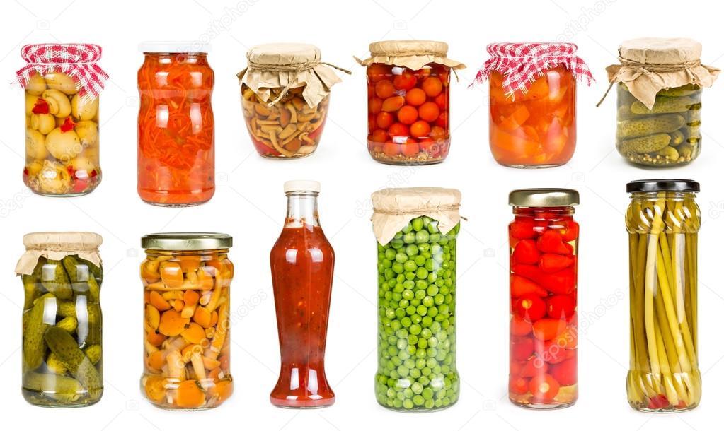 Set of canned vegetables