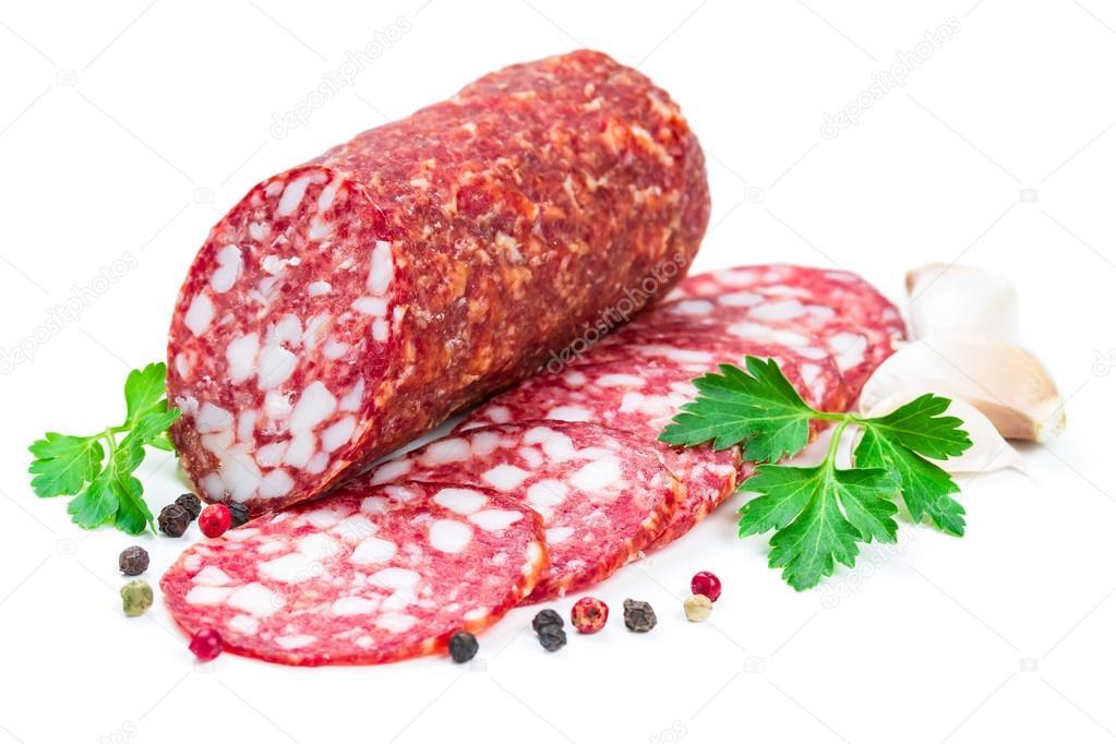 salami isolated on white background