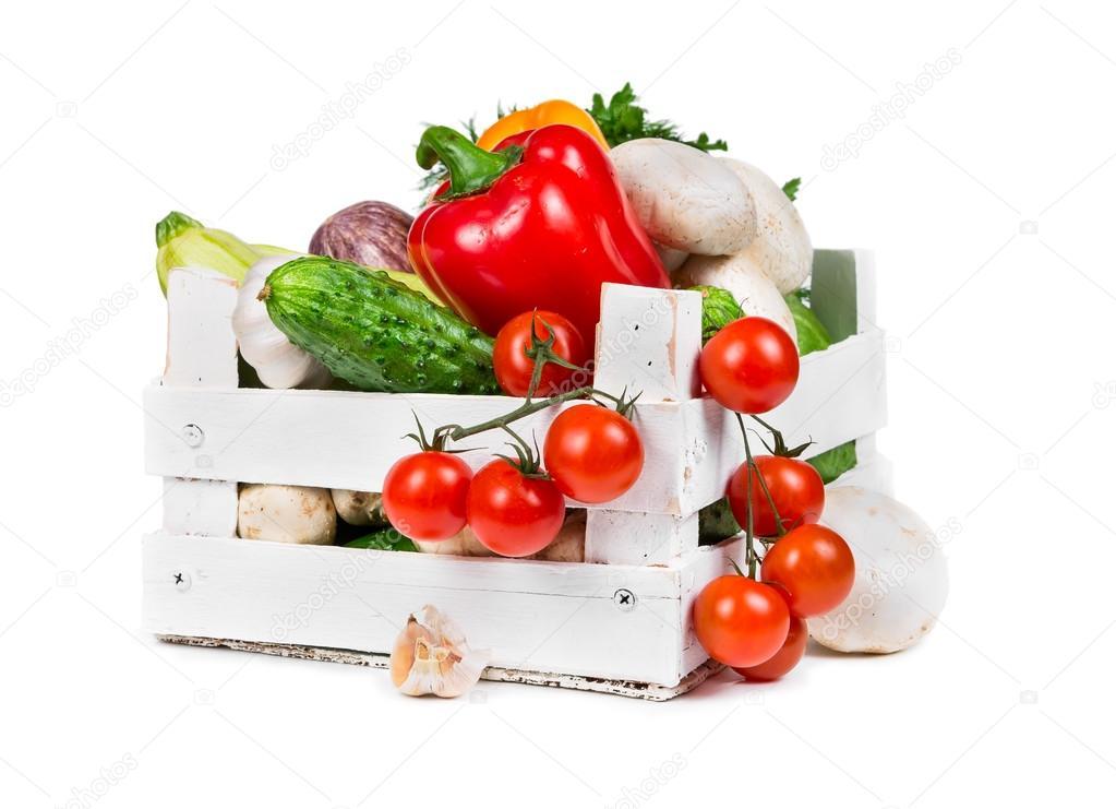 Fresh vegetables in white box