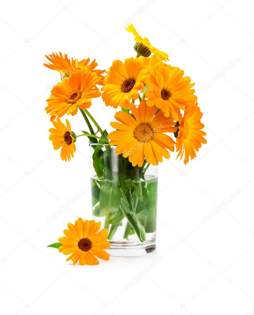 Bouquet of marigold in glass vase