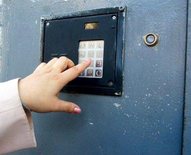 combination lock on a metal door