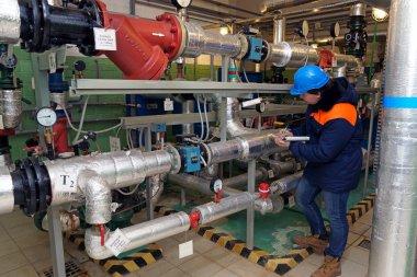 Water pipes in boiler room