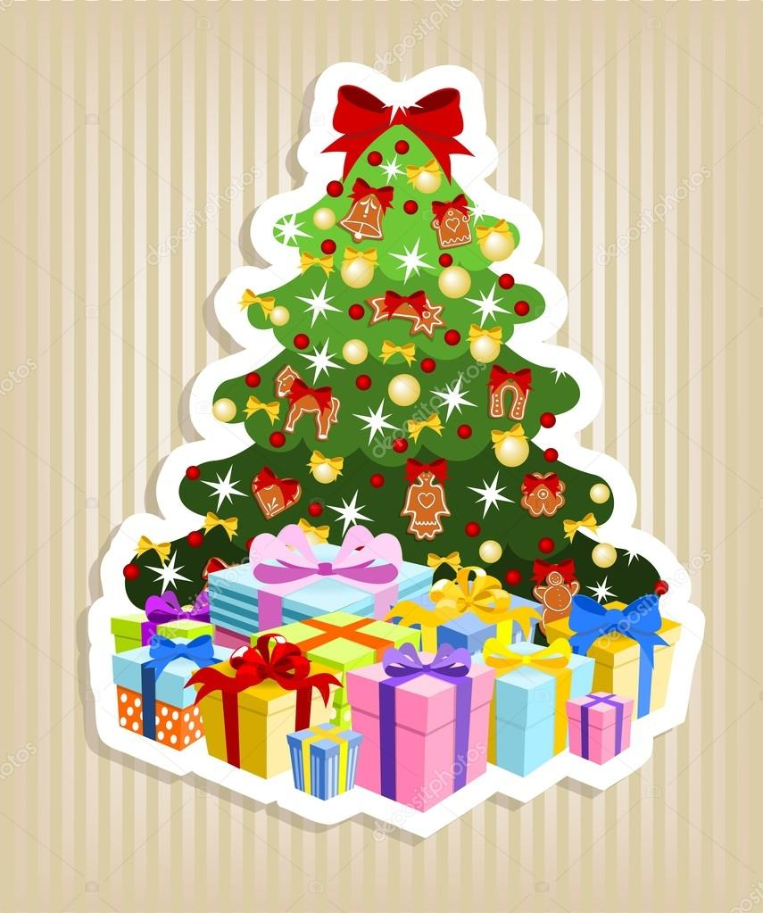 Rbol de navidad con regalos vector de stock - Arbol de navidad con regalos ...