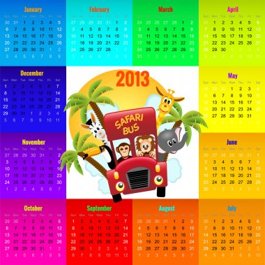 Colorful calendar 2013 with animals riding red bus
