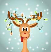 Fényképek vicces rénszarvas, karácsonyi fénydekorációk