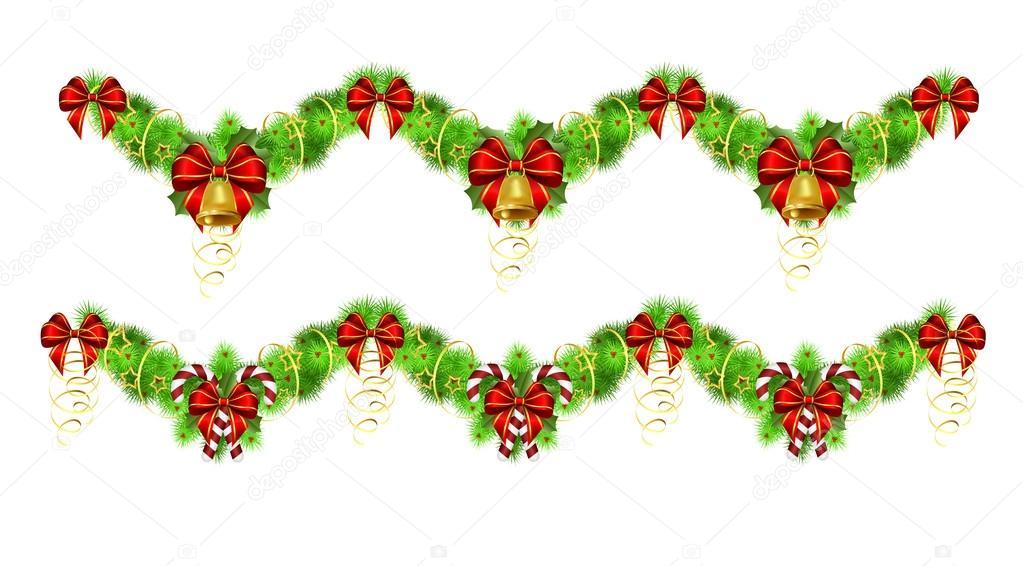 Guirnaldas De Navidad Imagenes.Vector Guirnalda Navidad Dos Guirnaldas De Navidad Con