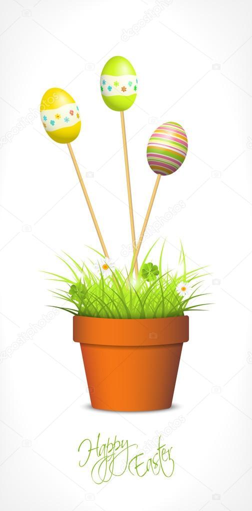 Ostereier und frisches Gras in den Blumentopf — Stockvektor ...