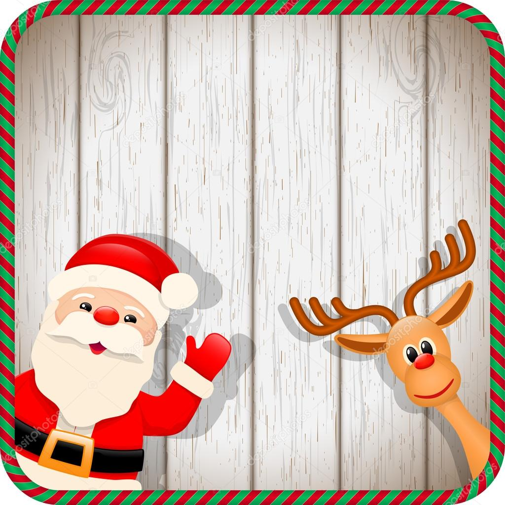 santa and reindeer in christmas frame u2014 stock vector