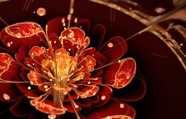 fractal flower with red petals and golden details