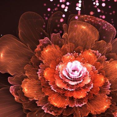 "Картина, постер, плакат, фотообои ""orange fractal flower"", артикул 45984525"