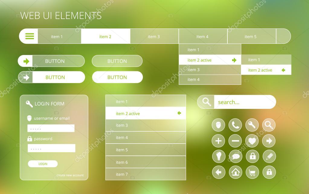 web ui elements suitable for flat design