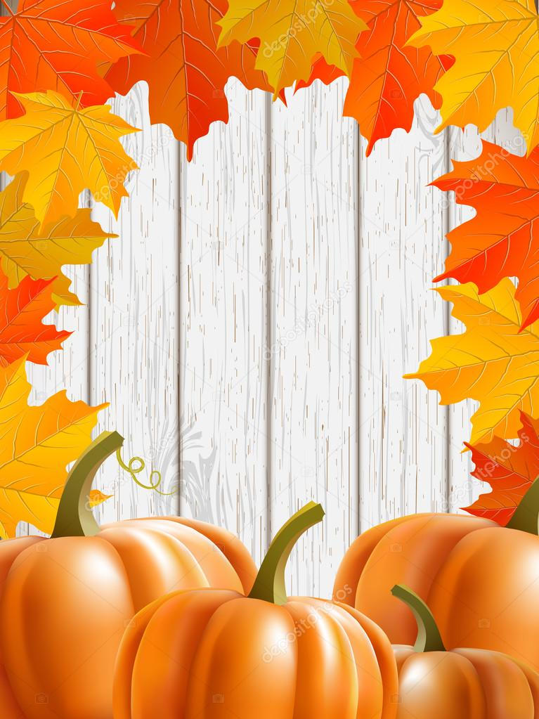 abstract background with maple leaves and pumpkins