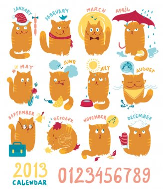 Calendar With Cute Bright Cats