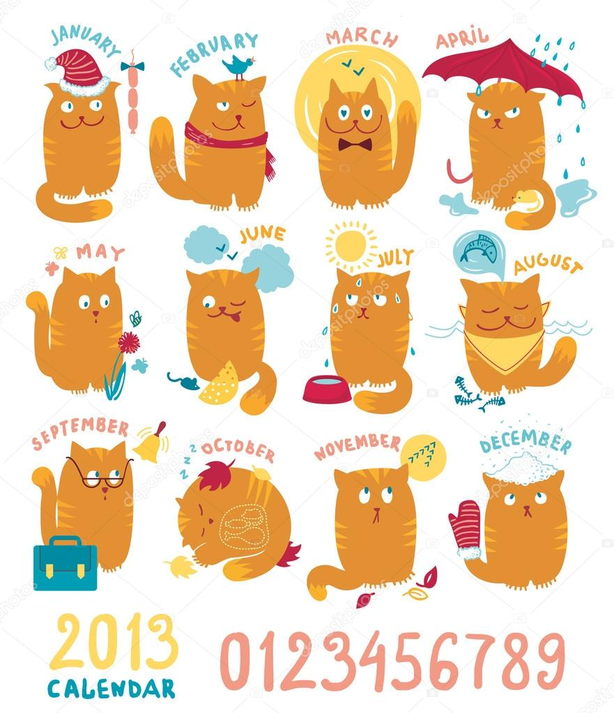 Calendar With Cute Bright Cats