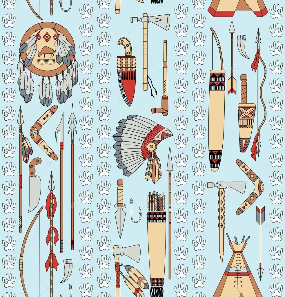 seamless pattern with Native American attributes and animal trac