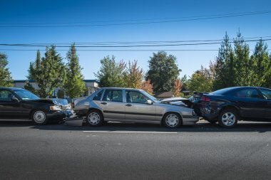 Three-car accident