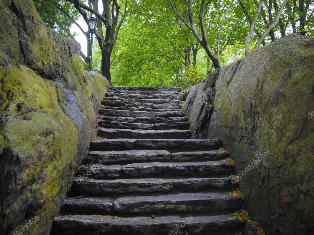 escalera de piedra hmeda en central park nueva york u foto de robertcrum