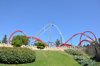 Roller coaster with sky background in the Port Aventura