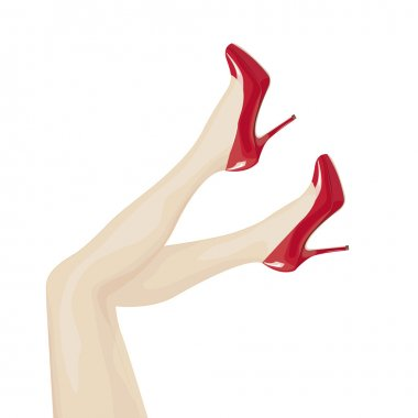 Female legs in high heels over white background