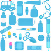 Medicines, Pills, Medical Equipments in Blue